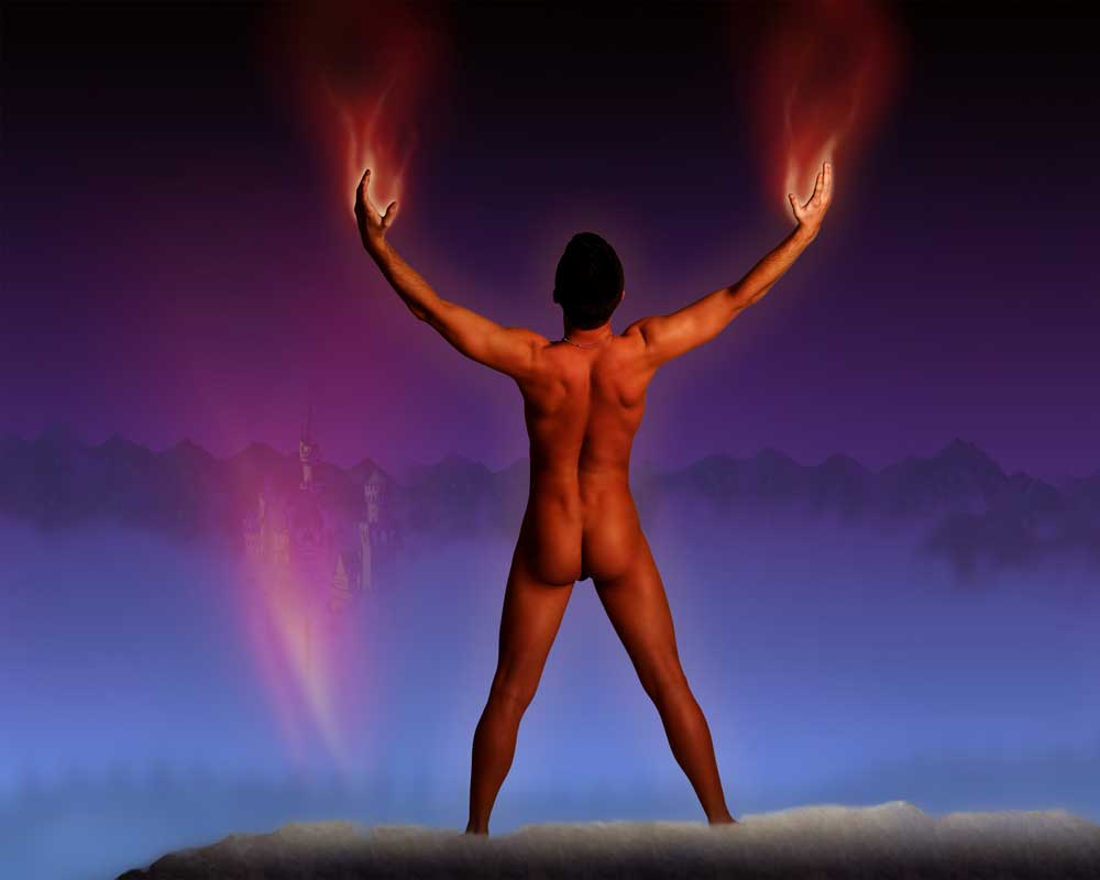 Burning Sorcerer  - Gay Art Male Art by Michael Taggart Photography